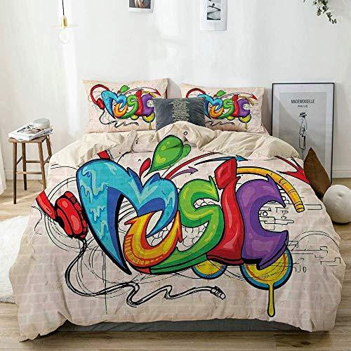 Juego de funda nórdica beige, ilustración de auriculares con letras estilo Graffiti, tema hip hop en una imagen de ladrillos beige, juego de cama decorativo de 3 piezas con 2 fundas de almohada Easy C