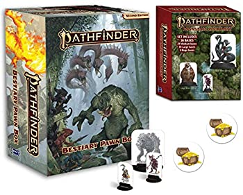 Pathfinder Bestiary Pawn Box  P2  and Pawns Bases Plus Two Treasure Chest Buttons