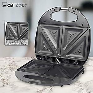 Clatronic ST 3477 Sandwichtoaster, 3-eckige Sandwichplatten, automatischer Temperaturregler, mit 2 Kontrollleuchten, Antihaftbeschichtung, Überhitzungsschutz, grau