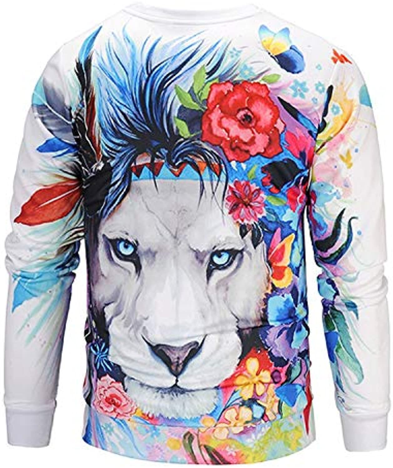 TCLYFBY Unisex 3D Digital Printing Autumn and Winter Sweater Sweater Long Sleeve Round Neck Loose Shirt Lion