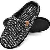 ONCAI Pantofole da Uomo Invernali Strisce, Comoda Memory Foam Calde Scarpe da Casa con Suola Antiscivolo Taglia 47