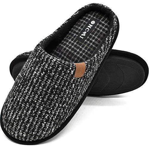Chaussons Homme Pantoufles à Rayures Hiver Chaussures Chaudes pour La Maison en Mousse à Mémoire de Forme, Avec Semelle en Caoutchouc Antidérapante Taille 43