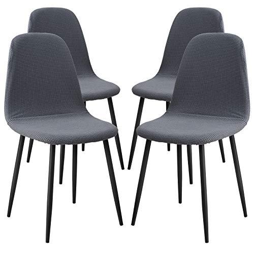 Ryoizen Stuhlhussen 4er Set Jacquardgemustert Strech Esszimmerstühle Bezug Universal Küchenstühle Husse Stuhlabdeckung Schwingstühle Spannbezug Elegante Stuhlbezüge(Jacquard-Grau,4er)