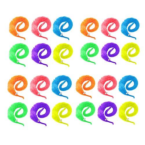 JZK 24 x Colorati serpentelli Vermi magici Giocattolo Peluche con Filo Trasparente Gioco magia per Bambini Giochi per Gatti interattivi Giocattoli Classici