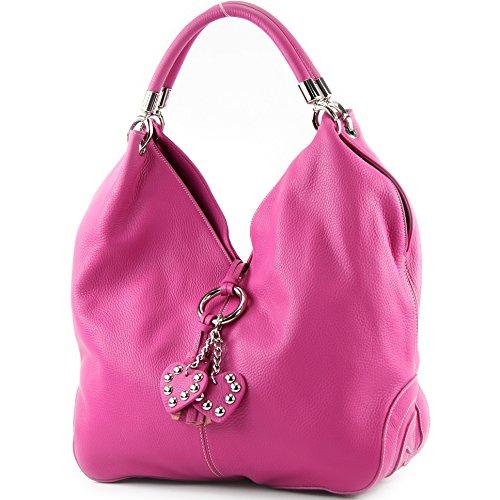 modamoda de - 330 - ital Handtasche Shopper Schultertasche Leder, Farbe:Pink