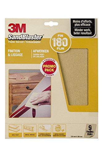 3M Sandblaster Lot de 9 Feuilles Abrasives pour Finition P180