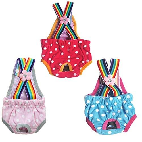 Pañales Perro Perro Femenino De Pañales Sanitarios Temporada Pantalones Período De Tela Transpirable Pantalones Periodo Perro Calzoncillos S 3pcs