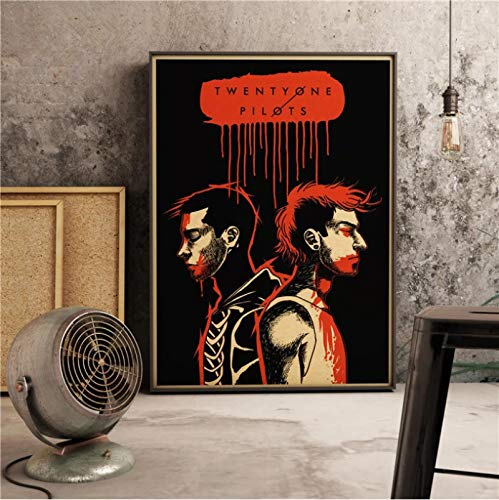 WHMQJQ Rock Band Star Wall Art Picture Twenty One Pilots Cantante de música Póster Impresiones Música Guitarra Lienzo Pintura Decoración para sala de estar Sin marco 42 * 60Cm