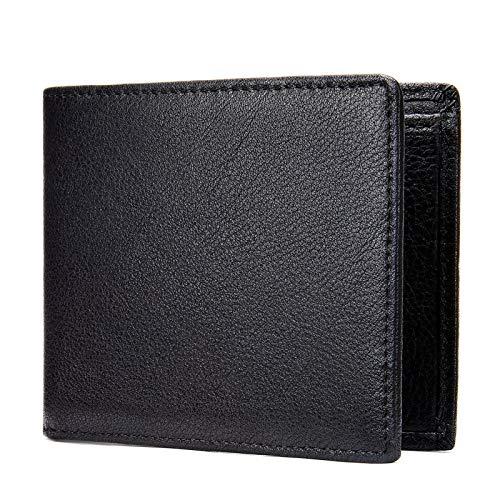 Cartera Hombre con Bloqueador RFID, BLOQUEO RFID hombre compacto billetera billetera vintage cuero de vaca bifoldo bifolle billetera corta 6 Titular de la tarjeta de crédito Bolso de monedero de moned
