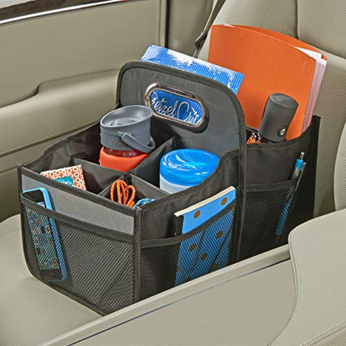 High Road Front and Back Seat Car Organizer Caddy with Movable Dividers (Black)