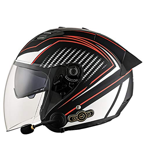 Bluetooth Casco de Moto Jet,Aprobado por ECE 3 4 Casco de Moto con Visera para Mujeres y Hombres Casco de Moto Abierto para Mofa Scooter Cruiser Pilot Biker Racing Casco B,XL