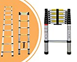 Leogreen - Telescopic Ladder, Extendable Ladder, 8.5 feet, EN 131, Maximum Load: 330 lbs, Distance Between The rungs (Ladder Deployed): 30 cm