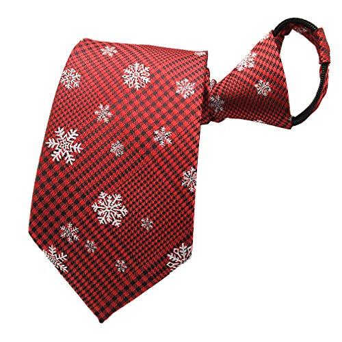 AYOSUSH Mens Zipper Neck Tie Christmas Theme Pretied Silk Zip Ties Red Snowflake
