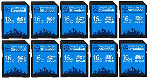 Everything But Stromboli 16GB SD Card (10 Pack) Speed Class 10 UHS-1 U1 C10 16G SDHC Memory Cards for Compatible Digital Camera, Computer, Trail Cams