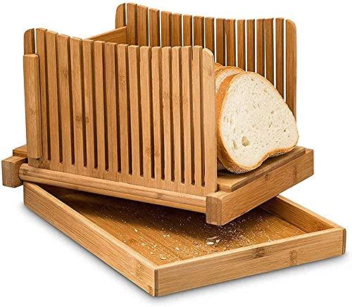 Bailing Küchenutensilien Brotschneidemaschine aus Bambusholz Klappbare und kompakte Brotschneideführung mit Krümelauffangbehälter für selbstgebackenes Brot, Laibkuchen, Toastbrot, Bagels