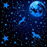 466 Pieces Glow in The Dark Unicorn Wall Decals Luminous Moon Star Dot Stickers Fluorescent Glow Wall Ceiling Sticker Decals for Home Party Kids Room Decorations (Fluorescent Blue)
