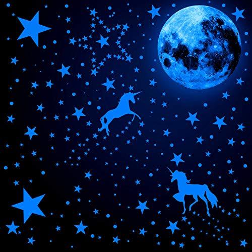 466 Piezas Calcomanías de Pared de Unicornio Brillan en la Oscuridad Pegatinas Luminosa de Luna Estrella Punto Calcomanías de Pared Techo de Resplandor Fluorescente (Azul Fluorescente)