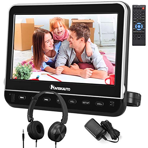 NAVISKAUTO 10,1' DVD Player für Auto Tragbarer DVD Player 1080P HD Bildschirm Kopfstütze Monitor Memory HDMI Eingang SD USB mit Kopfhörer / AC Adapter / AV Kabel