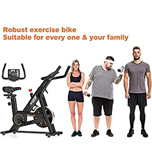 MKHS Silent Magnetic Resistance Indoor Cycling Bike, Fully Adjustable Design for All People, Stationary Exercise Bikes for Home (400 Lbs Weight Capacity)
