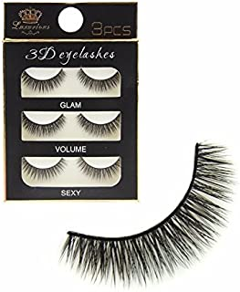 FOK Soft Natural Black Thick Long False Eyelashes Makeup Extension Pack Of 3 Pair Fake Eyelashes