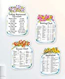 Set of 4 Kitchen Helper Magnets - Equivalents Substitutions Roasting & Freezer Charts