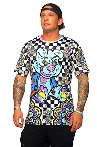 Mens Rave Jersey Drip Bear – 3D Checkerboard Trippy Neon Black Light Glow EDM