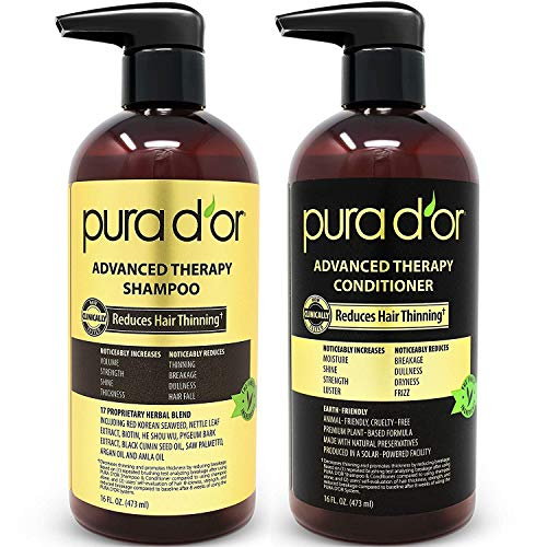 PURA D'OR Advanced Therapy System Shampoo & Conditioner Reduces Hair Thinning for Thicker