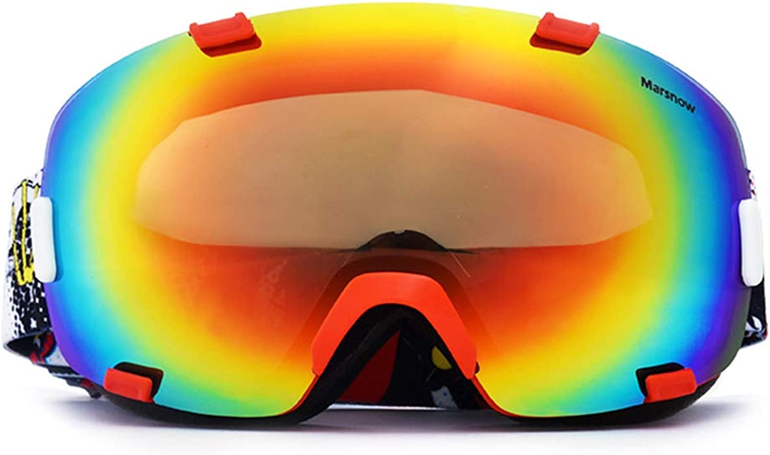 RKY Ski goggles Ski gogglesTPU PC, detachable lens, silicone non-slip tape, can bring into myopia, tough frame, adult ski and climbing super large spherical wind goggles8 colors to choose from