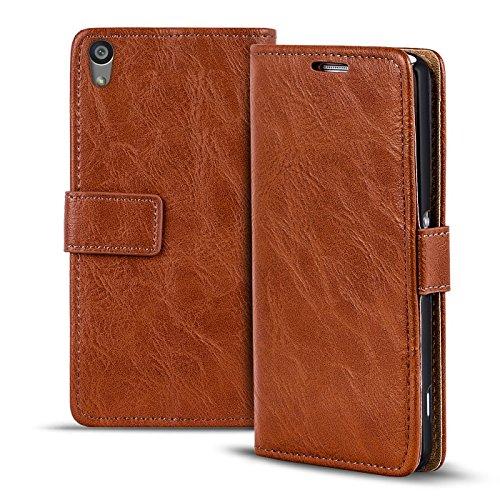 Verco Xperia M4 Aqua Hülle, Premium Handy Schutzhülle für Sony Xperia M4 Aqua Hülle PU Leder Wallet Tasche Retro Flipcase, Braun