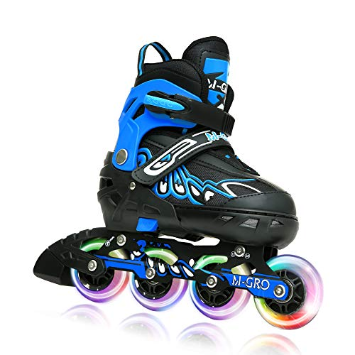 M-GRO Adjustable Inline Skates Blue with Featuring All Illuminating Wheels