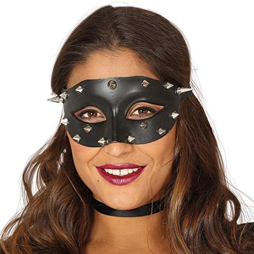 NET TOYS Augenmaske mit Nieten | Schwarz-Silber | Aufregende Unisex-Maskerade Domina | Perfekt geeignet für Mottoparty & Themenabend