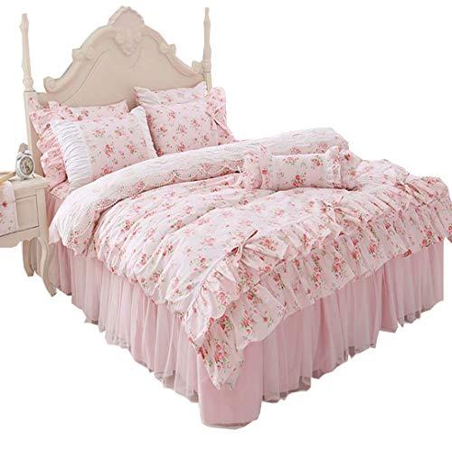 布団カバー 3点セット シングル 花柄 ピンク フリル 姫系 レース付き 綿100% 柔らか 肌触り良い おしゃれ ベッドスカート 枕カバー 寝具カバーセット 掛け布団カバー かわいい 田園風 洗濯可 固定ヒモ付き YKFN