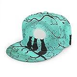LAOLUCKY Gorra de béisbol ajustable de la bola del gato negro en el árbol luna llena del papá sombrero unisex Snapback gorras