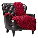 Chanasya Ruched Luxurious Soft Faux Fur Throw Blanket - Fuzzy Plush and Elegant with Reversible Mink Blanket for Sofa Chair Couch Living Room Birthday Gift and Home Decor (50x65 Inches) Red Maroon