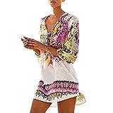 Homebaby - Copricostume Mare Donna Boho - Copribikini in Cotone sui Costume da Bagno Sexy - Kimono Vestito Lungo Estate Pizzo Hippie Kaftan Tunica Etnica Abito da Spiaggia (Libero, Rosa)