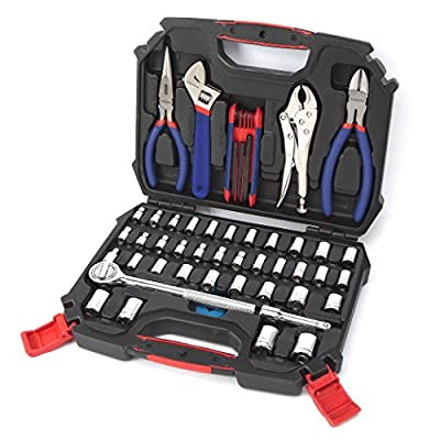 """WORKPRO W003020A 52-Piece Hand Tool & Socket Set (Metric & SAE Size, 3/8"""" Drive)"""