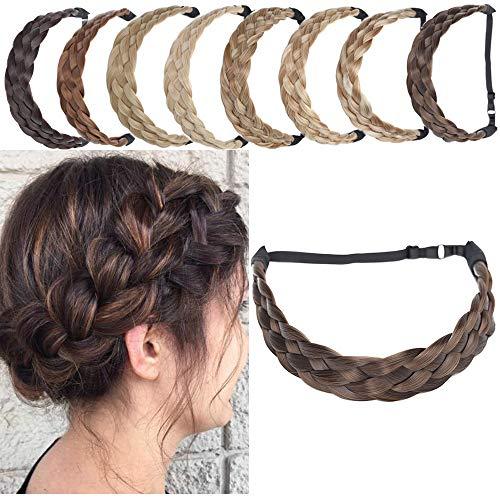 Extensions Haarband geflochtene Braids Haar Haarverlängerung verstellbare Stirnband elastische Stretch Haarteil Beauty-Accessoire für Frauen Kastanienbraun & Aschbraun L-3.8cm(1.5')-50g