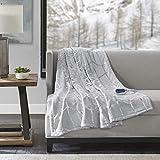 True North by Sleep Philosophy Raina Electric Blanket Plush Throws-Low EMF- 50' x 60'- Metallic Geometric Print Cozy Soft-3-Setting Heat Controller, 50' x 60', Grey
