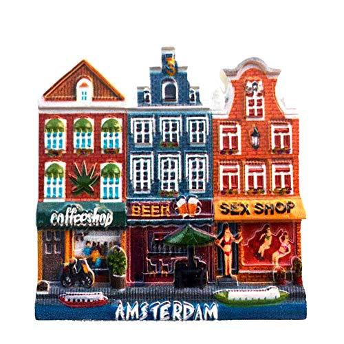 Weekino Sexy Shop Amsterdam Países Bajos Imán de Nevera 3D Resina de la Ciudad de Viaje Recuerdo Colección de Regalo Fuerte Etiqueta Engomada refrigerador