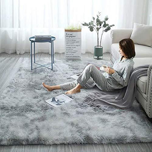 Ewolee Alfombra de salón ultra suave, grande de piel sintética, suave y moderna, alfombra peluda, antideslizante y esponjosa, para dormitorio, sala de estar, decoración del hogar, 160 x 120 cm (gris)
