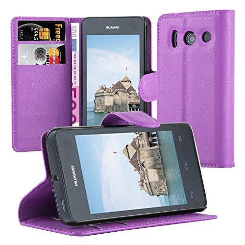 Cadorabo Hülle für Huawei Ascend Y300 - Hülle in Mangan VIOLETT – Handyhülle mit Kartenfach & Standfunktion - Case Cover Schutzhülle Etui Tasche Book Klapp Style