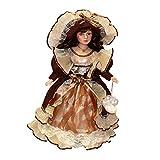 Hellery Muñecas de Porcelana de Estilo Vintage de 40 Cm con Elegante Sombrero Y Exhibidores