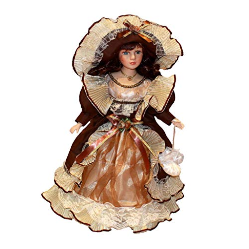 perfeclan Statuetta per Bambola in Ceramica Vintage da 40 Cm in Princess Dress Home Decor
