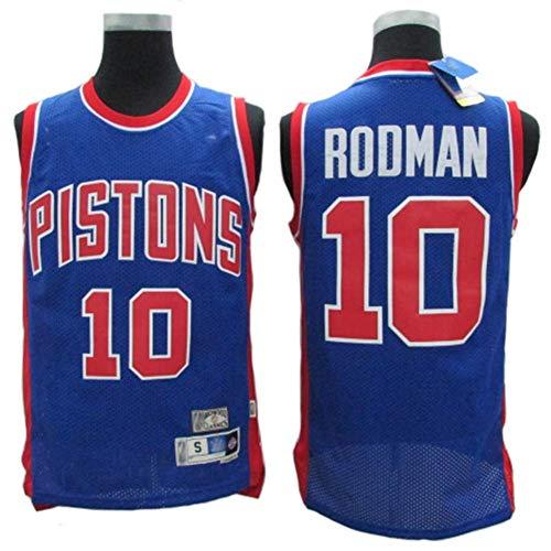 LLZYL Trikot - Detroit Pistons 10# Rodman Basketball Trikots Für Männer Und Frauen Retro Trikot Cool Atmungsaktivem Stoff,M:175cm/65~75kg