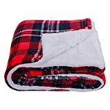 SOCHOW Sherpa Plaid Fleece Throw Blanket, Double-Sided Super Soft Luxurious Bedding Blanket 50 x 60 inches, Red/Grey