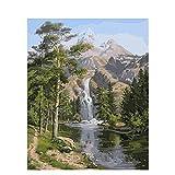 Pintar al óleo de DIY por kits Paisaje de cascada alpina de