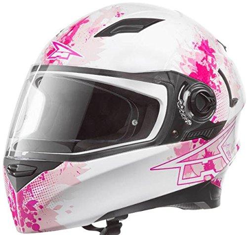 AXO アクソ RS01 Ladies 女性用 レディース フルフェイス ヘルメット ダブルシールド バイク 欧州限定(M(57〜58cm) 白/ピンク)