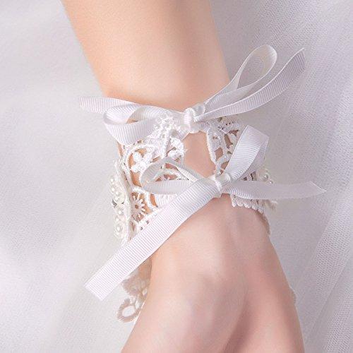 RIKOUZY(リコウゼワイ)指なし手袋フィンガーレスグローブウェディンググローブブライダル手袋ショートグローブレースお花リボン付き花嫁用品