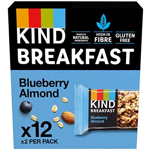 Kind Breakfast Cereal Bars, Healthy Gluten Free Snacks, Blueberry Almond, 12 Packs of 2 Bars