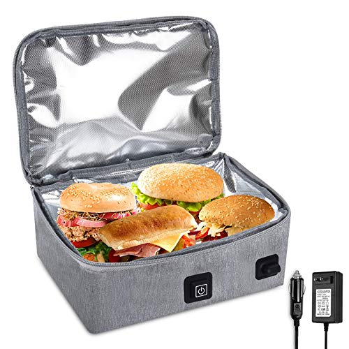 Portable Oven,Heat Lunch Box 12v Personal Food Warmer,Travel Microwave Portable Oven for Car & Office,Camping Prepared Meals Reheat & Soup, 110V Heat Lunch Bag Home/Travel